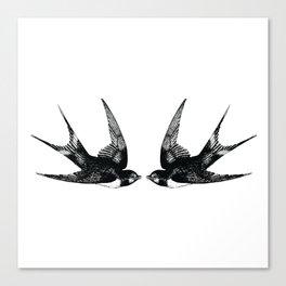 Double Swallow Illustration Canvas Print
