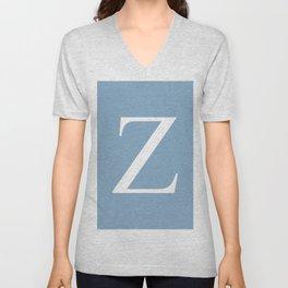 Letter Z sign on placid blue background Unisex V-Neck