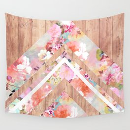 Vintage floral watercolor rustic brown wood geometric triangles Wall Tapestry