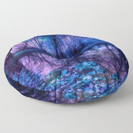 Enchanted Forest Lake Purple Blue Floor Pillow
