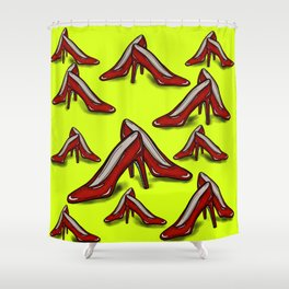 Red Ruby Heels on Fluoro Yellow Shower Curtain