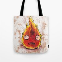 calcifer Tote Bags featuring Burning Calcifer by KeithKarloff