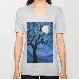 Meowing at the moon - moonlight cat painting Unisex V-Neck