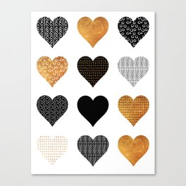 Gold, black, white hearts Canvas Print