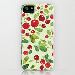 Watercolor Holly Pattern - Kitschy Christmas Holiday Print in Green and Red iPhone Case