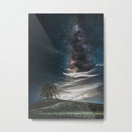 Tree And Milky Way Metal Print