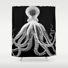Octopus   Black and White Shower Curtain
