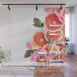 Grapefruit & Roses 04 Wall Mural