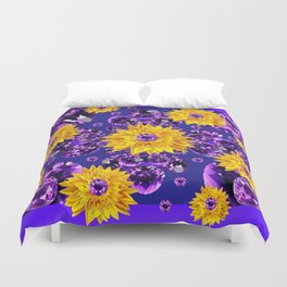 Glittering Amethyst Gems Jeweled Sunflower Rain Duvet Cover