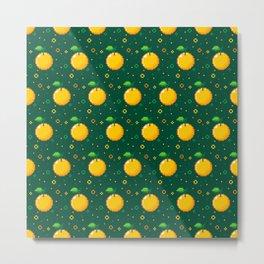 Pixel Oranges - Green Metal Print
