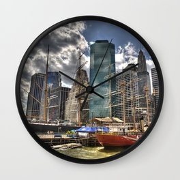 NYC Harbor, south seaport Wall Clock