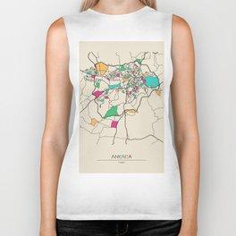 Colorful City Maps: Ankara, Turkey Biker Tank