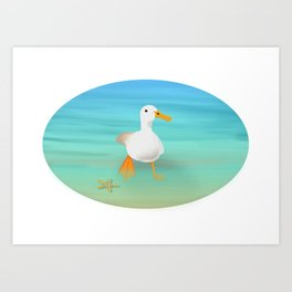 The Paddling Duck at the Se Art Print