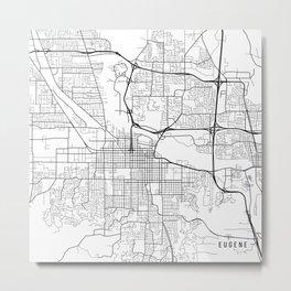 Eugene Map, USA - Black and White Metal Print