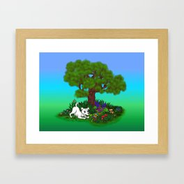 Spring-awakening - Puppy Capo and Butterfly Framed Art Print