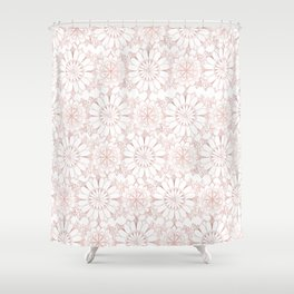 Pink rose hand drawn abstract modern floral Shower Curtain