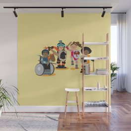 Knight kids - yellow background Wall Mural