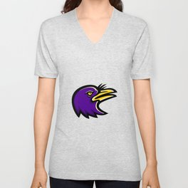 American Crow Head Mascot Unisex V-Neck