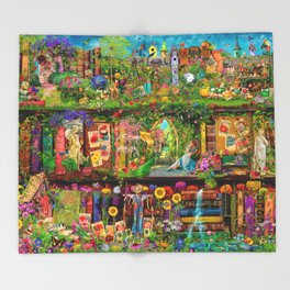 The Secret Garden Book Shelf Throw Blanket