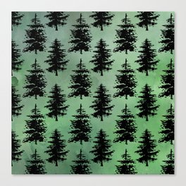 Hand painted watercolor green black winter pine trees Canvas Print