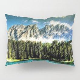 Carezza Lake Dolomites, Italy Landscape Painting by Jeanpaul Ferro Pillow Sham