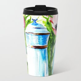 vintage watercolor with tea and flowers in a frame Travel Mug