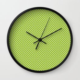 Tiny Paw Prints Pattern - Bright Green & White Wall Clock