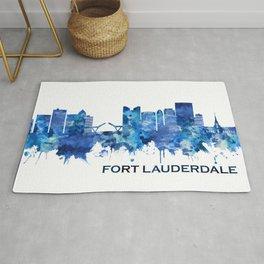 Fort Lauderdale Florida Skyline Blue Rug