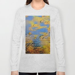 Drops on glass during snowstorm Long Sleeve T-shirt