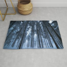 Snowy Winter Trees - Forest Nature Photography Rug