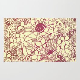 Yellow square, pink floral doodle, zentangle inspired art pattern Rug
