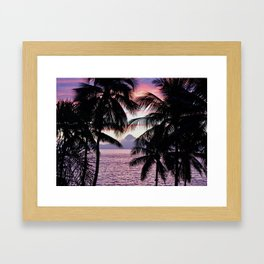 Pink Tahiti Sunset Over Moorea Framed Art Print