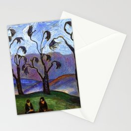 'Lovers Walk' pastoral landscape painting by Marianne von Werefkin Stationery Cards