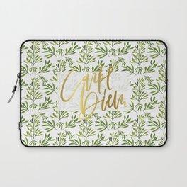 carpe diem - gold foil with green foilage Laptop Sleeve