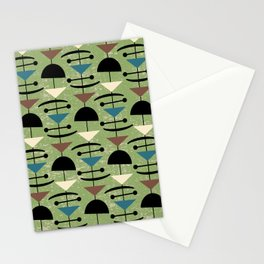 Retro Mid Century Modern Abstract Mobile 648 Green Blue Brown and Black Stationery Cards