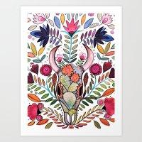 boho skull Art Print