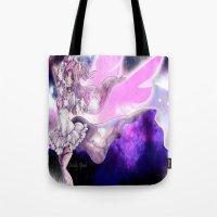 madoka Tote Bags featuring Goddess Madoka by DeadlySpade