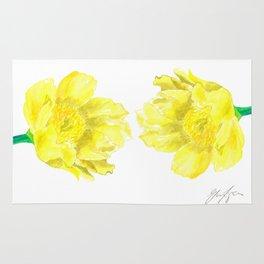 Two Yellow Peony Flowers Rug