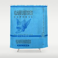 cigarette Shower Curtains featuring Gauloises - Vintage Cigarette by Fernando Vieira