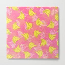 Banana Bunches - Pink Coral Metal Print
