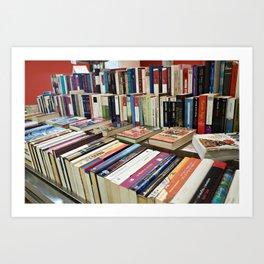 Sale of books on flea market Art Print