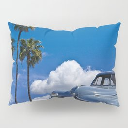 Vintage Blue Plymouth Automobile against Palm Trees and Cloudy Blue Sky Pillow Sham