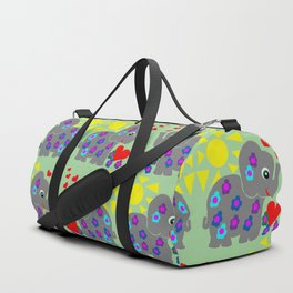 Elephant Flower Power Green Duffle Bag