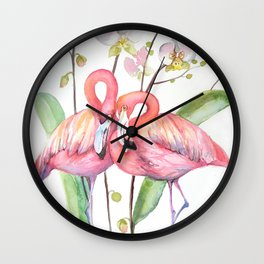 Two Flamingos with Orchids Wall Clock