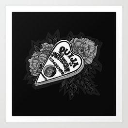 Ouija Planchette - Monochrome Art Print