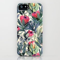 Painted Protea Pattern iPhone SE Slim Case