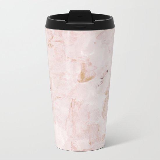 abstract-soft pink Metal Travel Mug