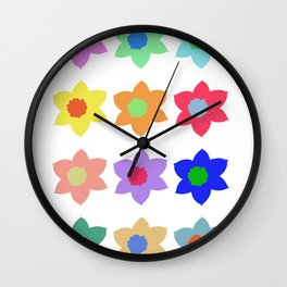 Flowers - Multiple Colour Wall Clock