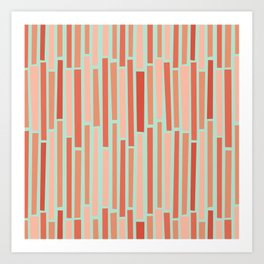 Pink Rows in Mint Art Print