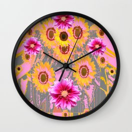YELLOW SUNFLOWERS & PURPLE DAHLIAS GREY ABSTRACT Wall Clock